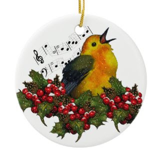 Warbler in Snow With Christmas Holly: Art Christmas Ornament
