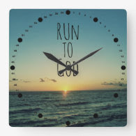 Inspirational Christian Quote Run to God Wall Clock