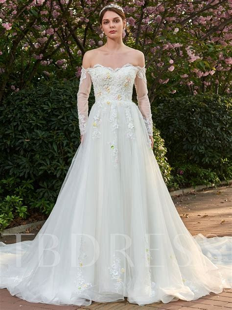 Beading 3D FLoral Appliques Off Shoulder Wedding Dress