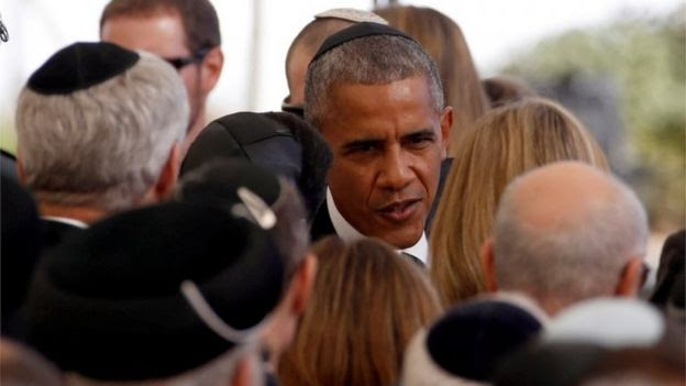 US President Barack Obama is seen upon his arrival to attend the funeral of former Israeli President Shimon Peres at Mount Herzl cemetery in Jerusalem 30 September 2016.