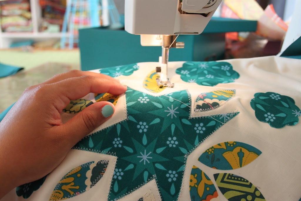 Teal Quilt Block -- matching nails : )
