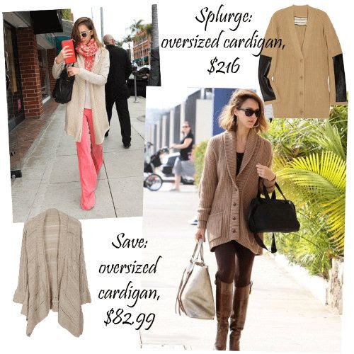 Jessica Alba Style - The Oversized Cardigan