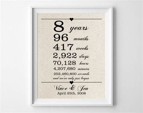 8 years together   Cotton Gift Print   8th Anniversary
