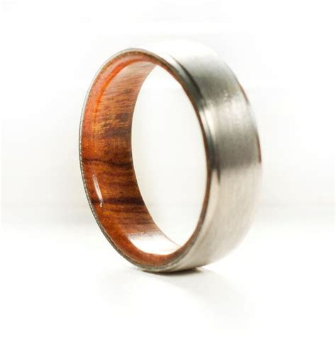 Titanium Wedding Band with Wood Lining   Staghead Designs