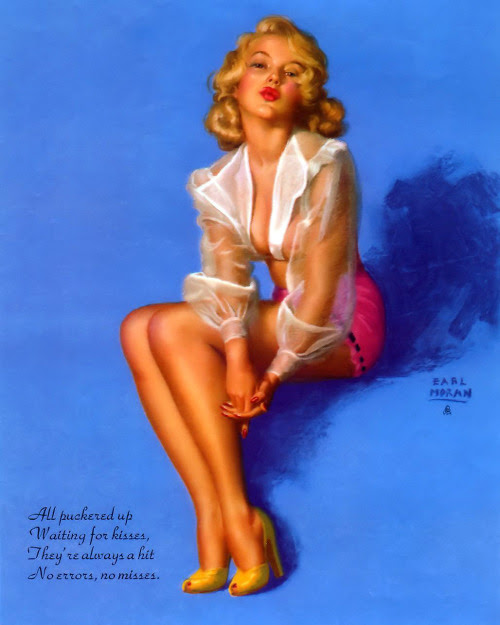 Earl Moran - październik 1954 Kalendarz Girl - Kolejny Marilyn Monroe wyglądają dzisiaj & rsquo z S kalendarza dziewczynę.  & Bdquo; Wszystko pomarszczona się czeka na pocałunki, Oni & rsquo;. Re zawsze hitem, nie zdobywa żadnych błędów & quot;