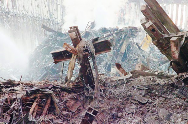 A cross formed from the Sept. 11 wreckage at Ground Zero in New York City
