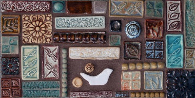 Scuptural Relief Anthropology Hand Painted Tile