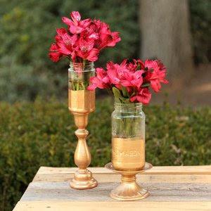 Gold-Tipped Mason Jar Vase