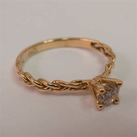 Braided Engagement Ring   14K Rose Gold And Diamond