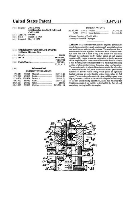 RCLibrary : Patent: Carburetor for Gasoline Engines title