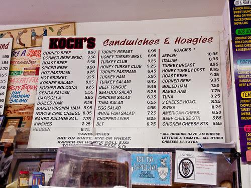 Koch's menu