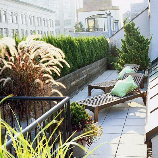design ideas balcony and roof terrace wooden planters lounge chairs