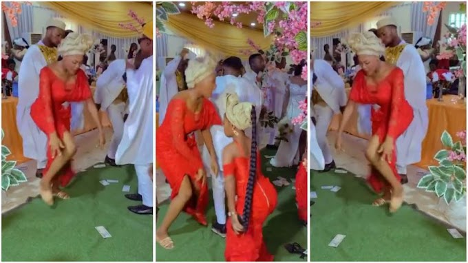 Lady steals show at wedding ceremony, scatters dance floor with fast legwork moves [video]