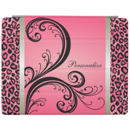Pink and Black Leopard Animal Print iPad Cover