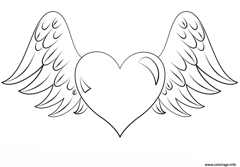 Coloriage Coeur Avec Des Ailes Dessin  Imprimer