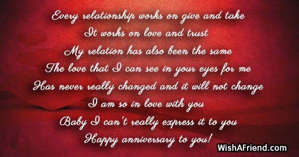 Every Relationship Works On Give And Anniversary Message