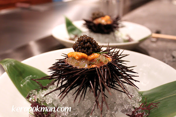 Marinated Botan Ebi with Sea Urchin and Oscietra Caviar