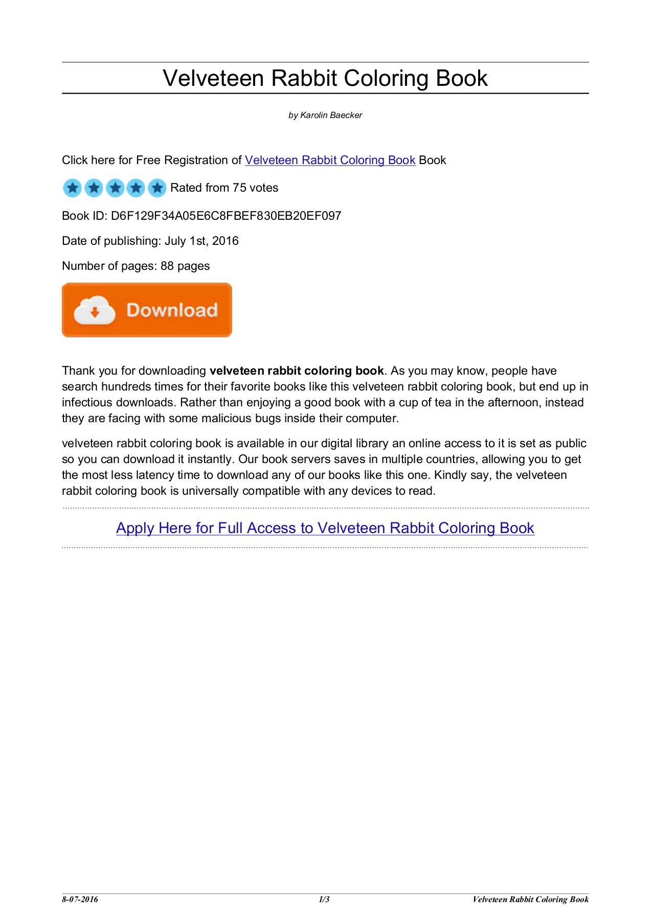 88 Velveteen Rabbit Coloring Book HD