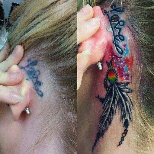 Feather Cover Up Tattoo Behind Ear Best Tattoo Ideas Gallery