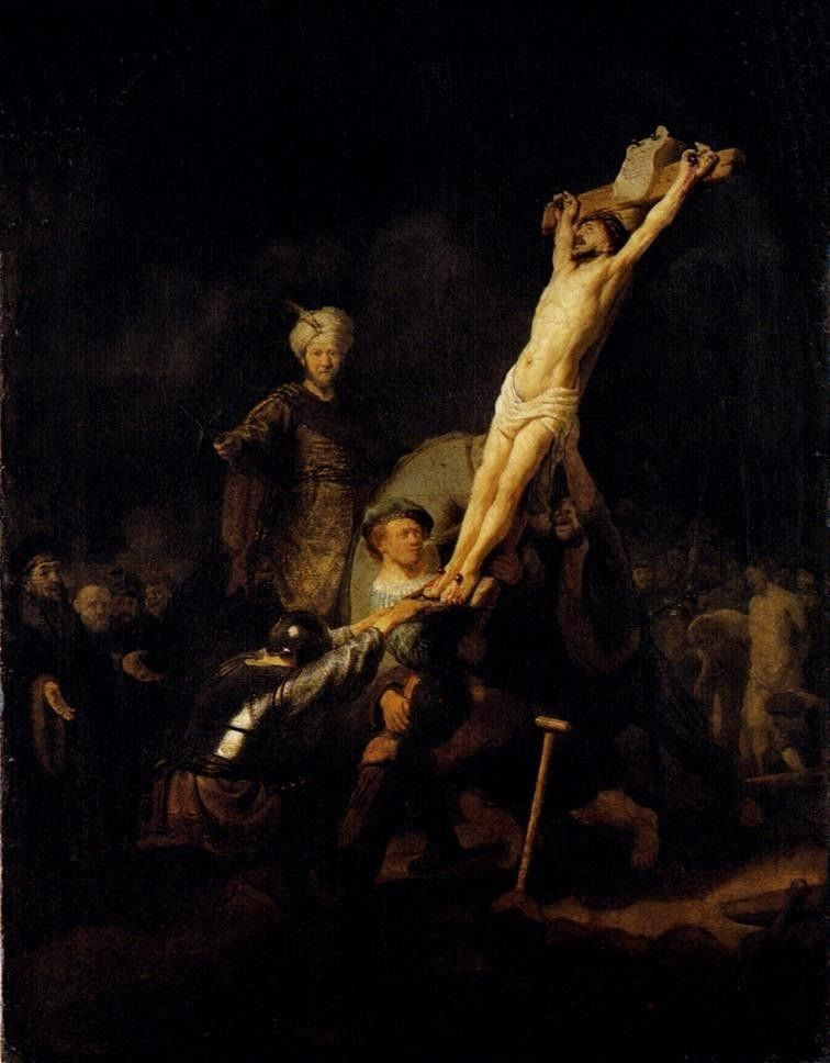 Raising of the Cross by Rembrandt