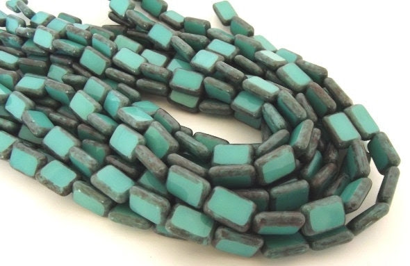 Czech Beads, Brown Picasso Turquoise Polished Rectangle Beads, 8x12mm - 10 beads - beadstostring