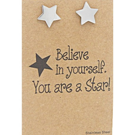 Oorbellen Ster Op Giftcard Believe In Yourself You Are A Star