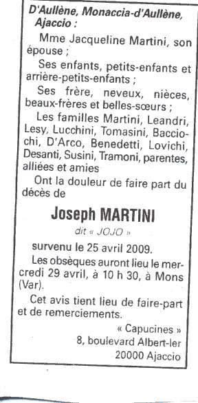 Décès Martini