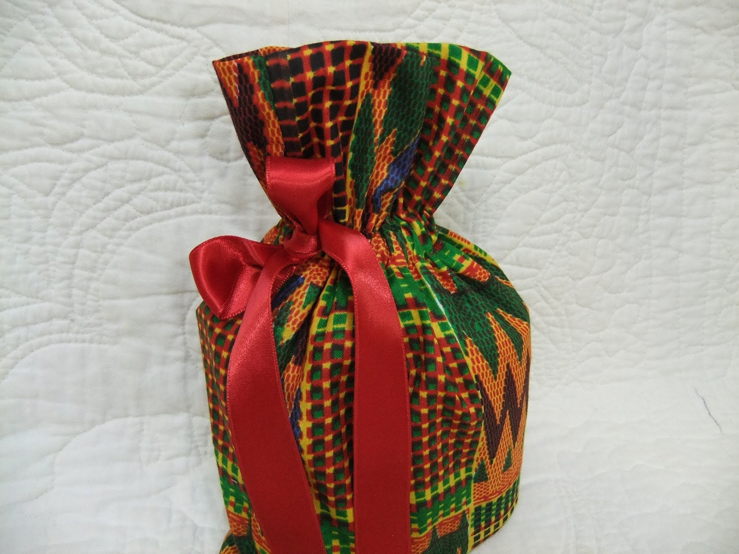 Christmas In July - Reusable Drawstring Gift Bags Eco Friendly - African Fabric - Fully Lined