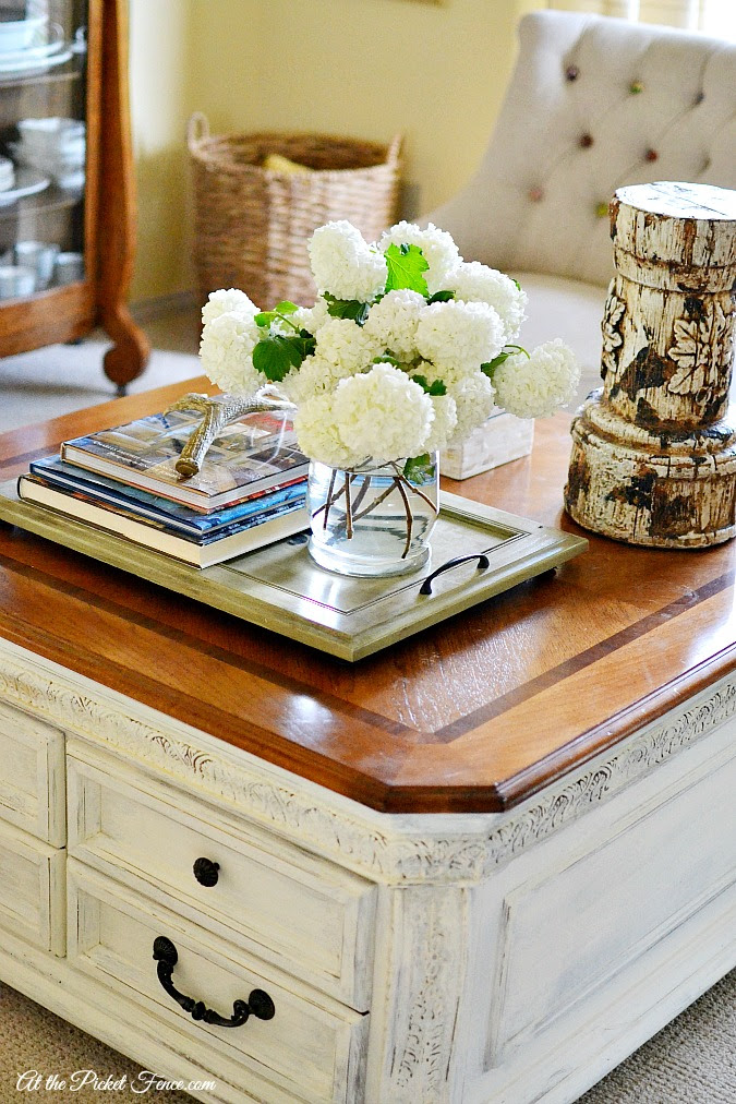 Chalky Finish Coffee Table Makeover - At The Picket Fence