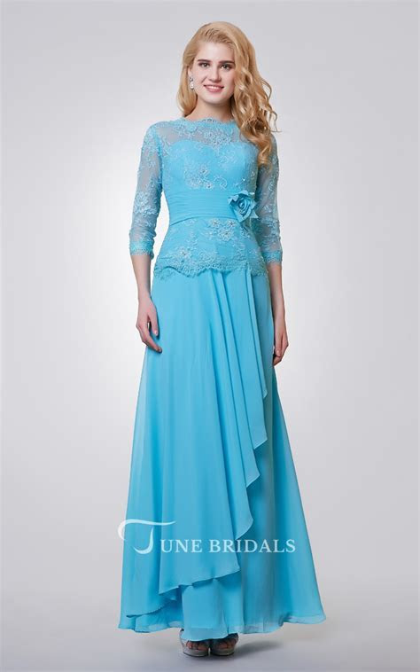 3 4 Length Sleeve Long Chiffon and Lace Dress With Side