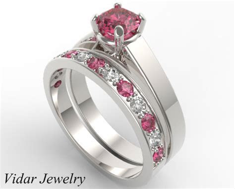 Unique Alternating Pink Sapphire Diamond Wedding Ring