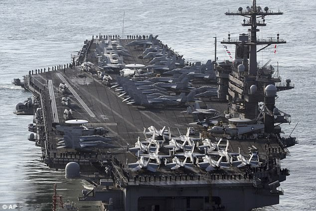 The USS Carl Vinson was the target of North Korea's hypothetical attack, with state-run media in the country boasting about its military might and the ability to sink a: 'nuclear-powered aircraft carrier with a single strike''