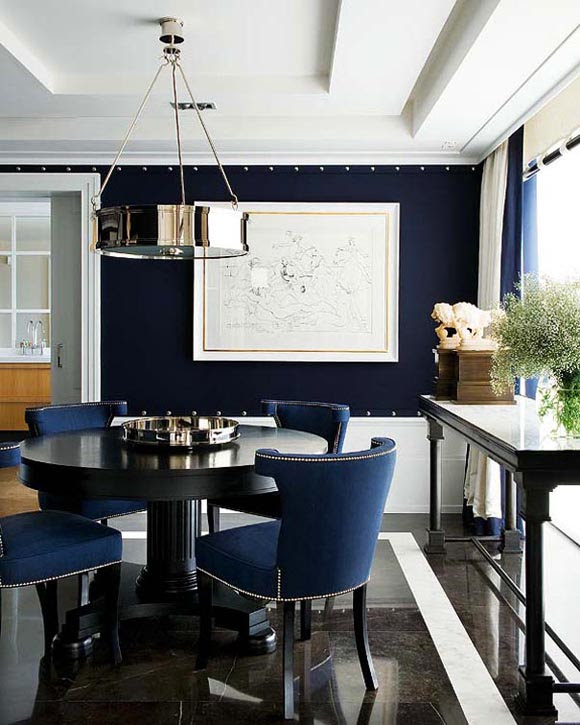 navy-blue-dining-room | Feven & Helena