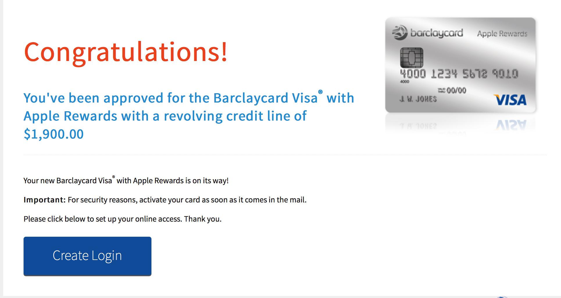 Barclaycard Apple Rewards - Approved! - myFICO® Forums - 10