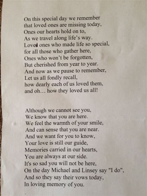 Remembrance poem read out by me at son's wedding, in
