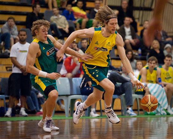 David Barlow, Hugh Greenwood - Boomers - Australian Men's Basketball Team Open Training Session, The Southport School, Queensland, Australia; 28 July 2011. Photos by Des Thureson:  http://disci.smugmug.com.