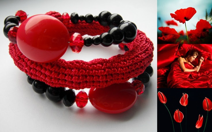 Dessert for crochet jewelry lovers - memory wire hand crocheted bracelet in red and black colors. $18.00, via Etsy.
