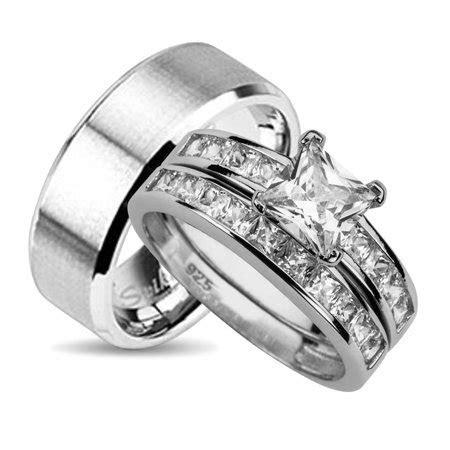 His and Hers Wedding Ring Set Matching Wedding Bands for
