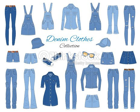 デニムの服のコレクションベクター スケッチ イラスト ベクトルアート