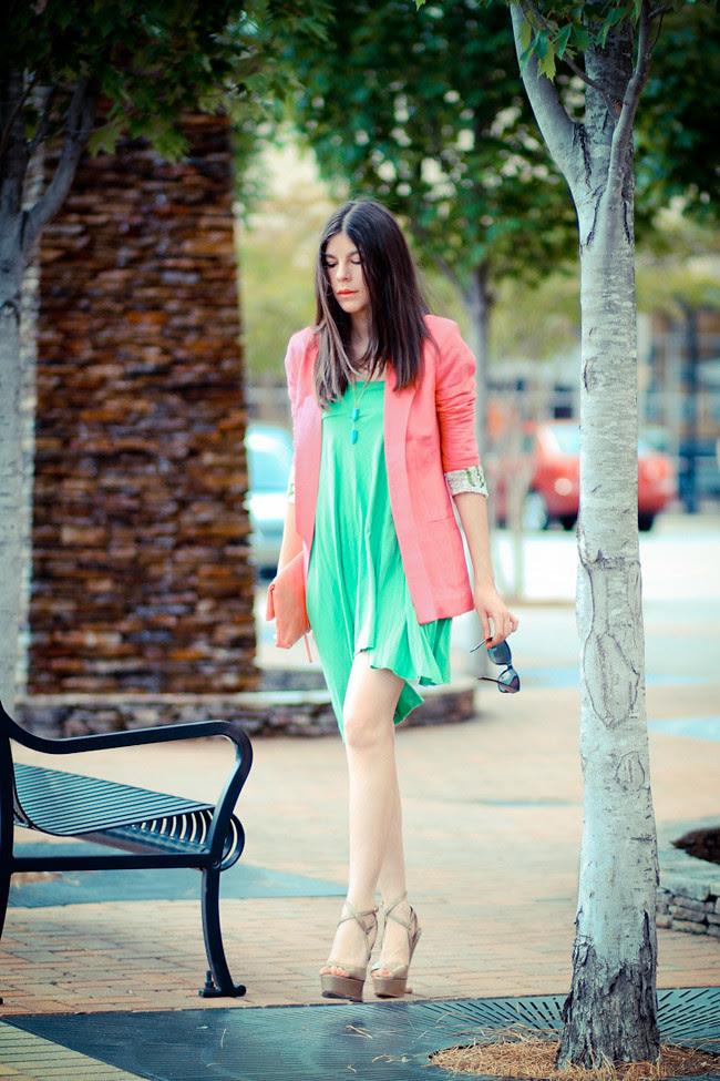 Color Blocking, Bright Green Dress, Moschino platform wedges, Balenciaga clutch, Neon Fashion