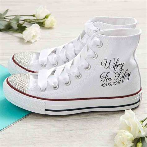 Wifey For Lifey Wedding Converse Shoes High Top/Date