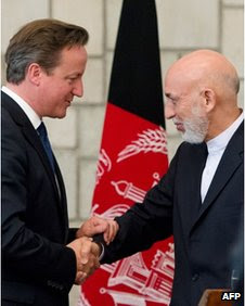 UK Prime Minister David Cameron and Afghanistan President Hamid Karzai