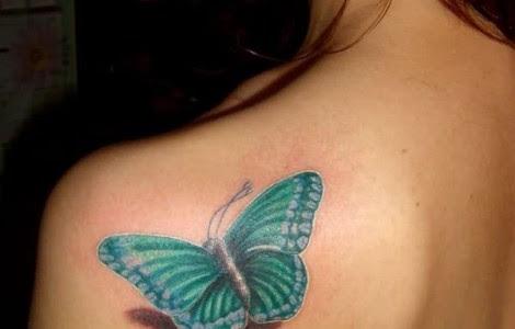 Light Blue Butterfly Tattoo On Shoulder Tattoo On Shoulder