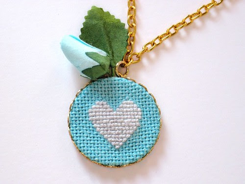 Bluebell Heart Cross Stitch Necklace