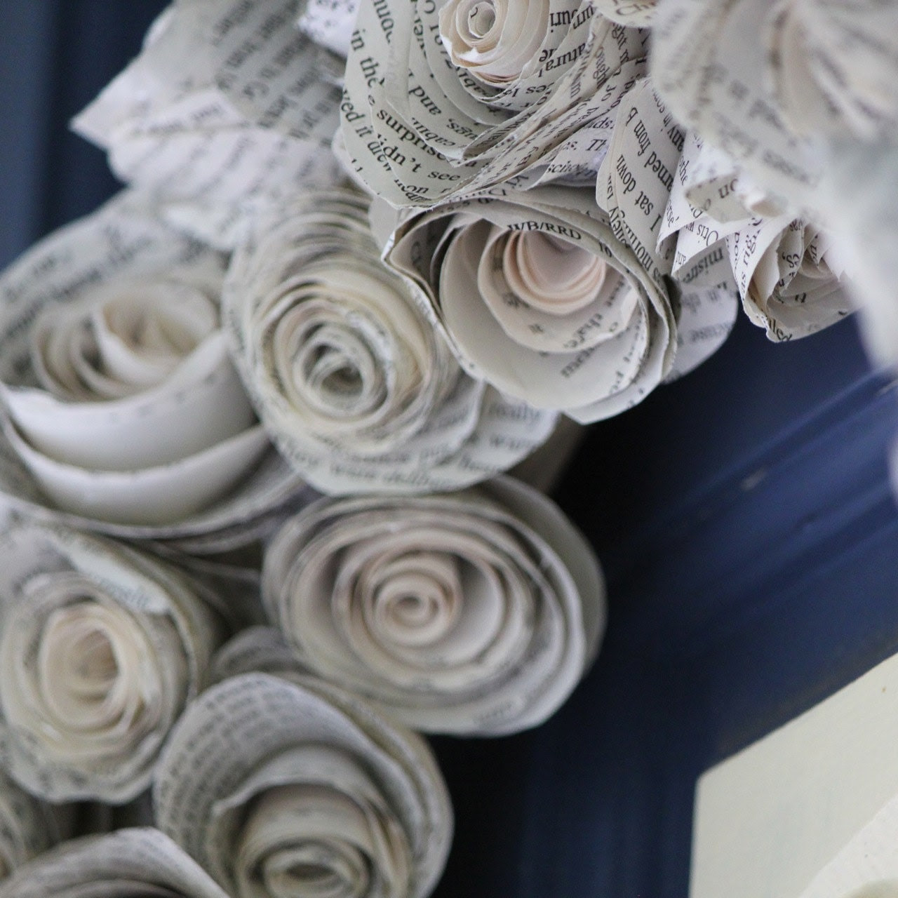 """21"""" upcycled book page wreath - hand rolled paper roses"""