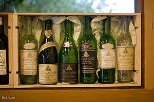 English: Selection of early Ridge wine bottles.