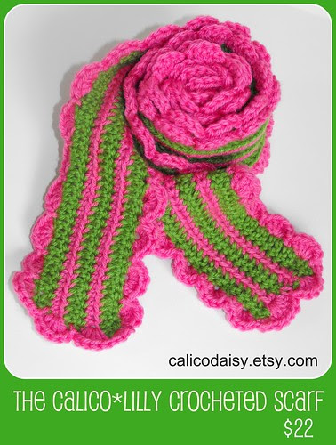 calico-lilly crocheted scarf framed