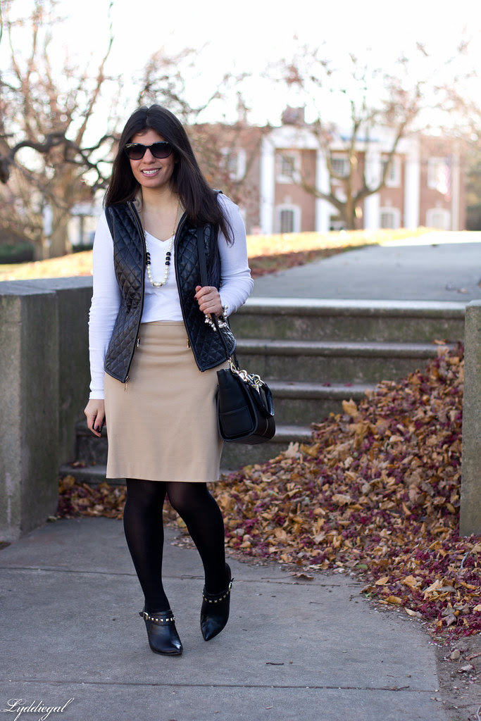 leather vest, tan pencil skirt.jpg