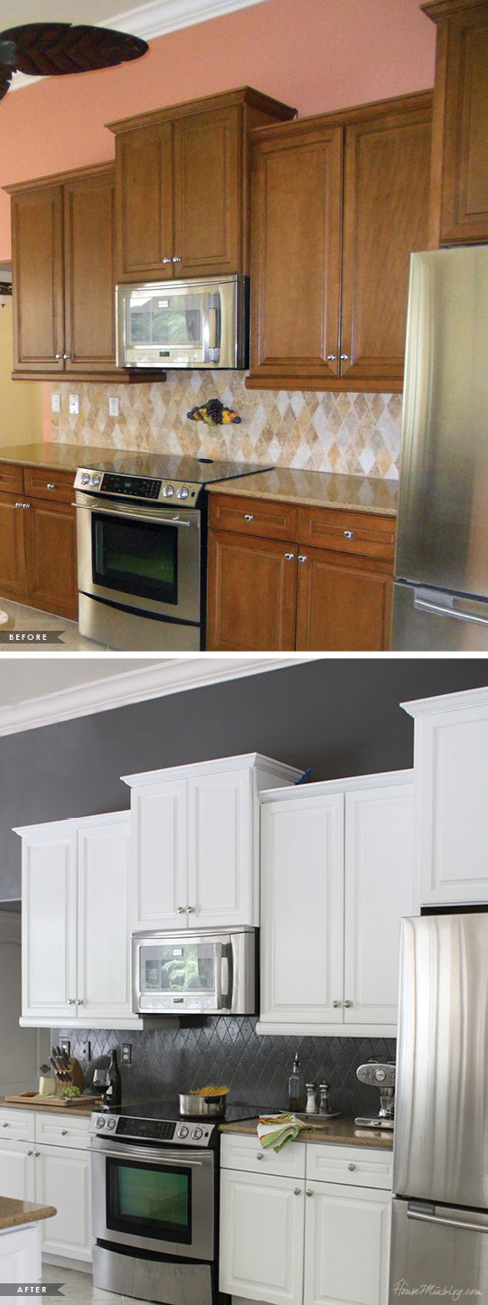 Painted kitchen cabinets and tile backsplash — a year ...