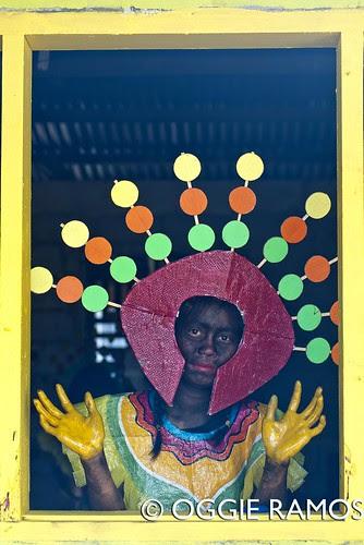 El Nido Barutuan Festival Taberna Girl in Costume by the Window